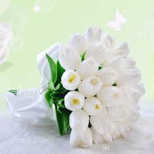 white tulips artificial wedding bouquets with white tulips rhinestones lace