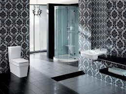 bathroom classy black and white bathroom with damask wallpaper