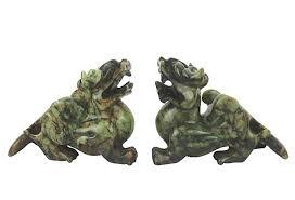 foo dogs for sale green brown jade foo dogs pair omero home