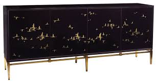 geraldine regency black glass gold bird credenza sideboard