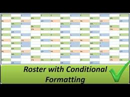 shift pattern generator online excel roster with conditional formatting shifts in colours youtube