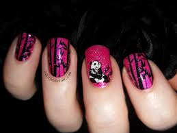 pink panda stamped decal nail art the adorned claw