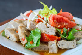 cuisine spicy cuisine spicy pork salad yum moo yor stock photo image of