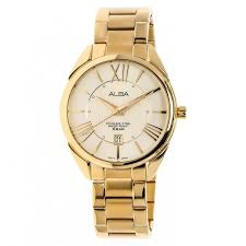 Jam Tangan Branded Alba as9a60 light chagne gold stainless steel