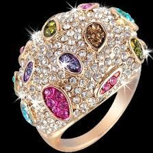 crystal pave rings images Multi color swarovski crystal diamond pave set sparkle dome ring jpeg