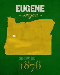 map of oregon eugene of oregon ducks eugene college town state map poster