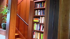 hidden staircase behind redwood bookcase youtube