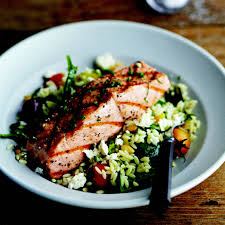 Main Dish Salad - grilled salmon with orzo feta and red wine vinaigrette recipe