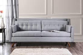 hallie gray linen fabric mid century modern style button tufted