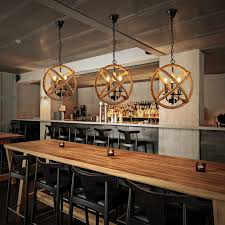 Country Style Pendant Lights American Country Style Loft Retro Shade Hemp Rope Chandeliers