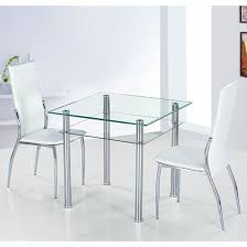 2 Seat Dining Table Sets Sophisticated Como Square Clear Glass Dining Table And 2 Ivory
