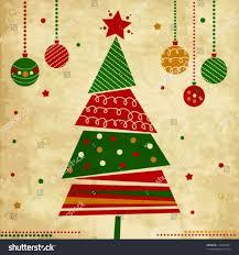 vintage christmas tree vector ne wall