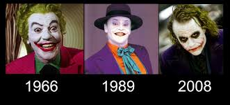 the joker transformation in movies 1966 1989 2008