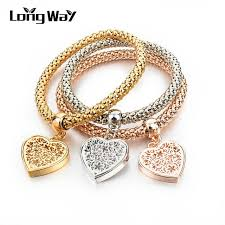gold bracelet with love heart images Longway ethnic love heart charm bracelets for women gold color jpg
