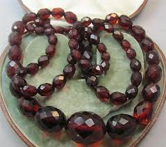 amber beads necklace images Superb long string art deco faceted cherry amber beads necklace 63 jpg