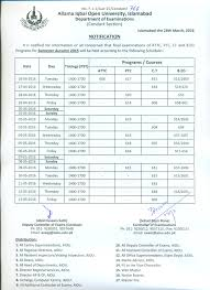 allama iqbal open date sheet for autumn semester 2016