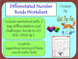 differentiated number bonds worksheet by goldtopfox teaching