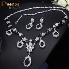 black drop necklace images Pera luxury noble bridal wedding accessories jewelry big clear jpg