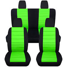 amazon com 2011 2017 jeep wrangler jk seat covers black u0026 lime