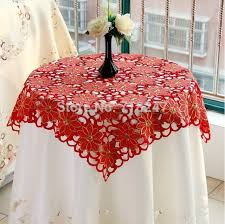 christmas table linens sale new sale 85 85cm christmas embroidery satin tablecloth red full