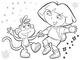 coloring pages dora the explorer and boots coloring page print