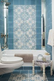 815 best retro bathrooms images on pinterest retro bathrooms the custom cement tiles in this blue bathroom give it moroccan flair mirror strips on