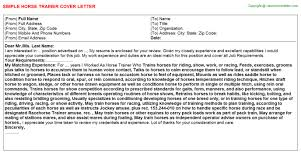 horse trainer cover letter
