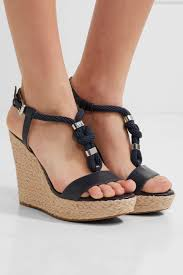 michael michael kors holly trimmed leather wedge sandals