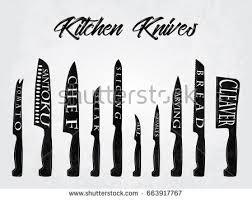 kitchen knives names realistic set kitchen knives names vector stock vector 663917767