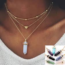 boho stone necklace images Fashion boho bohemia hexagonal column crystal opal nature stone jpg