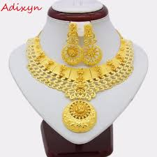 gold new necklace images Adixyn new necklace earrings set jewelry women girls gold color jpg