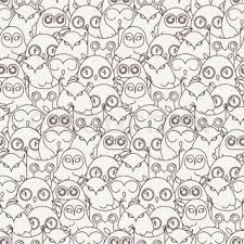 cute owl cartoon background vintage circle stock vector