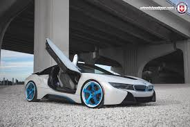 modified bmw i8 white bmw i8 lowered on blue hre wheels gtspirit