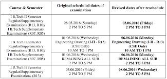jntuk b tech 1 2 reg supply u0026 1st year supply exam postponed on