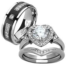 his and hers engagement rings his hers 3 pcs wedding engagement ring set titanium matching