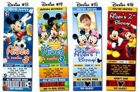 mickey mouse birthday invitations mickey mouse birthday party ticket photo invitations printable