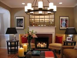 living room with non working fireplace decorated with candles