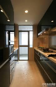 modern galley kitchen ideas cream travertine flooring in large modern galley kitchen with hob