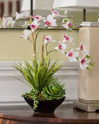orchid arrangements lifelike dendrobium orchids succulents accent planter at petals