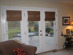 Wood Blinds For Patio Doors Furniture Brown Roman Shade On White Wooden Three Glass Panel