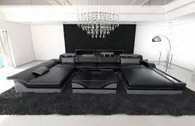 sofa u big sectional sofa monza u shaped with led lights black grey ebay