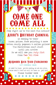 Card For Invitations Remarkable Carnival Birthday Party Invitation Card For