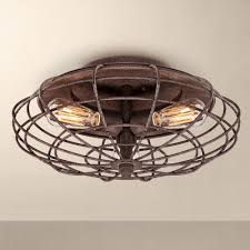 industrial flush mount ceiling lights industrial cage dark rust 8 1 2 high ceiling light fixture