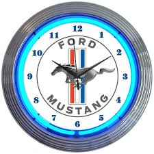 ford mustang stripes neon clock vintage style neon clocks