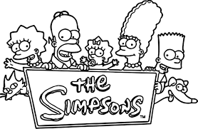 simpsons family logo coloring wecoloringpage