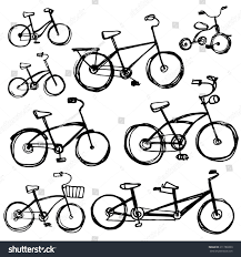 set different bikes sketch childrens bicycle stock vector