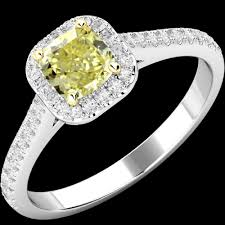 platinum rings stones images Cushion cut yellow diamond halo style ring with shoulder stones in png