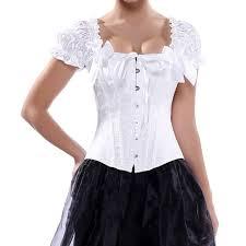 wedding corset white jacquard puff sleeve bridal