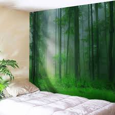 Bedroom Wall Tapestries Foggy Forest Bedroom Tapestry Wall Hangings Green W Inch L Inch