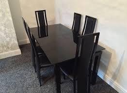 Black Glass Extending Dining Table Harveys Noir Range Black Glass Extendable Dining Table With 6 With